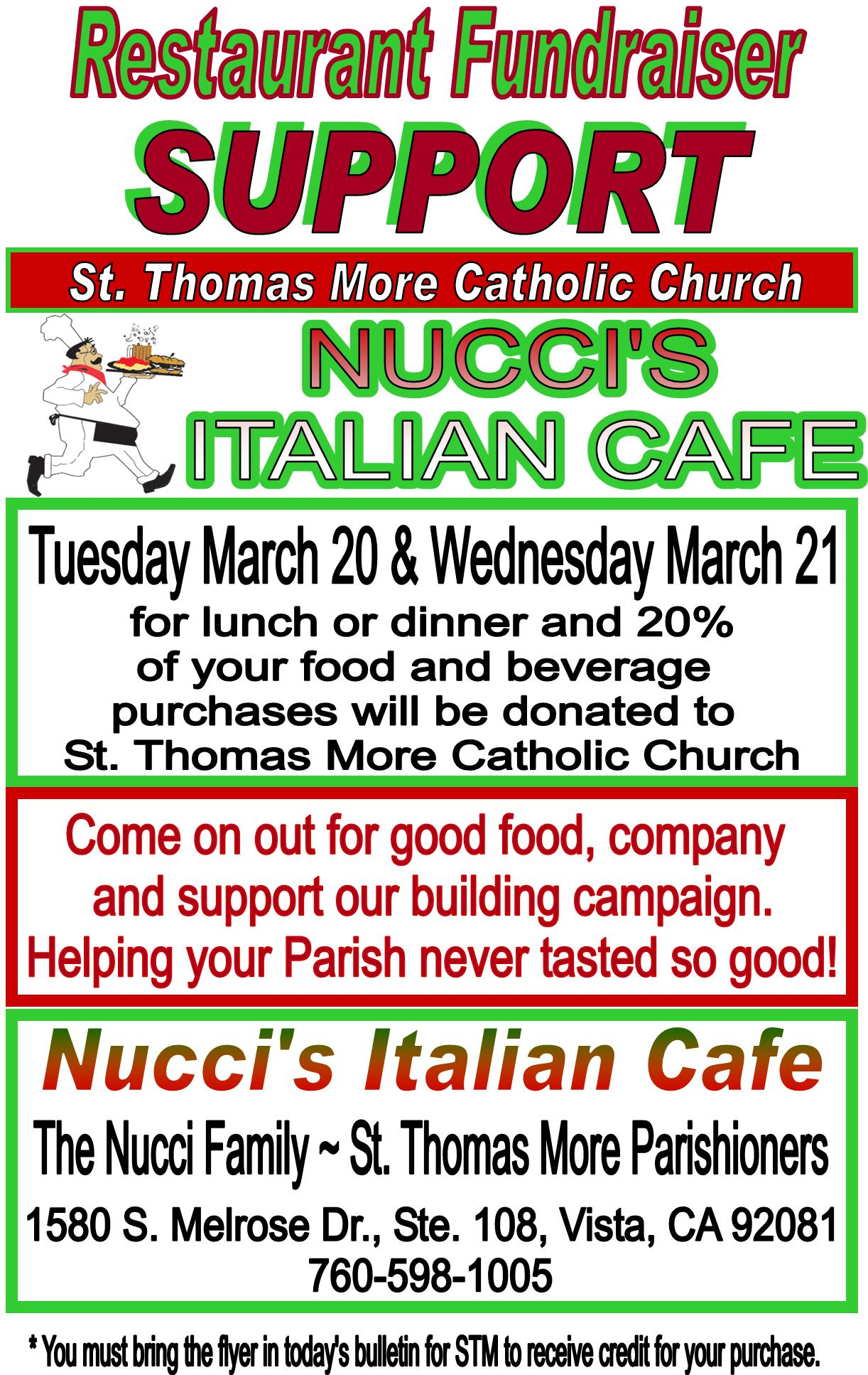Restaurant Fundraiser at Nucci's in Vista