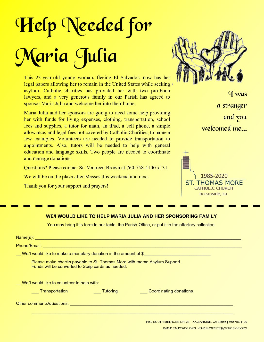 Help Needed for Maria Julia, Asylum Applicant