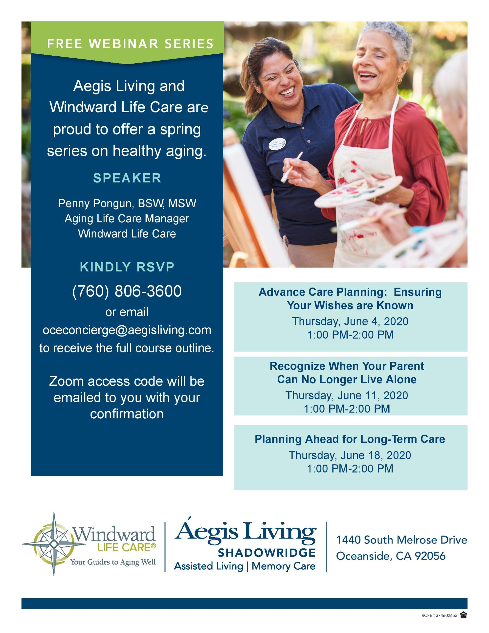 Aegis Assisted Living Webinar Series on Healthy Aging