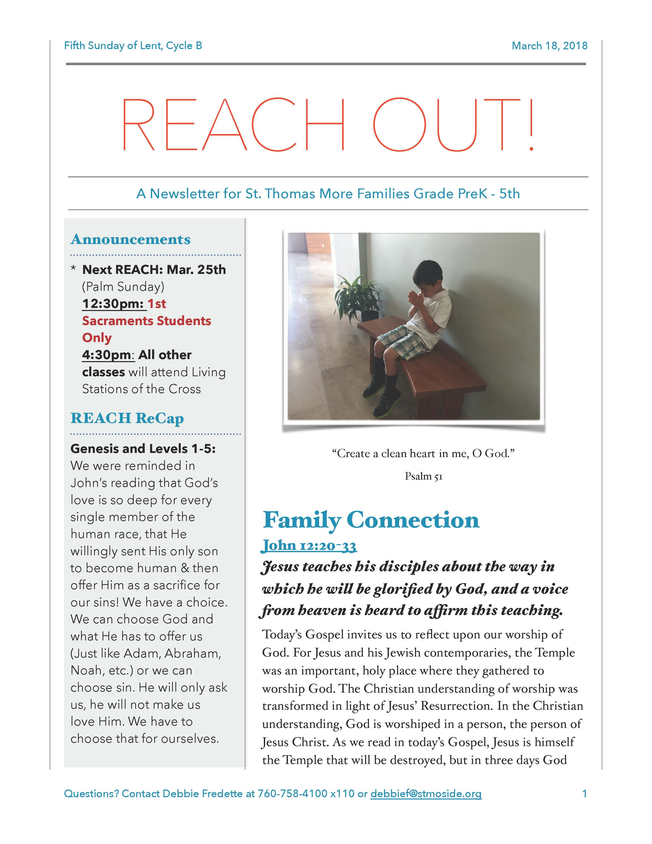 REACH Out Newsletter March 18, 2018